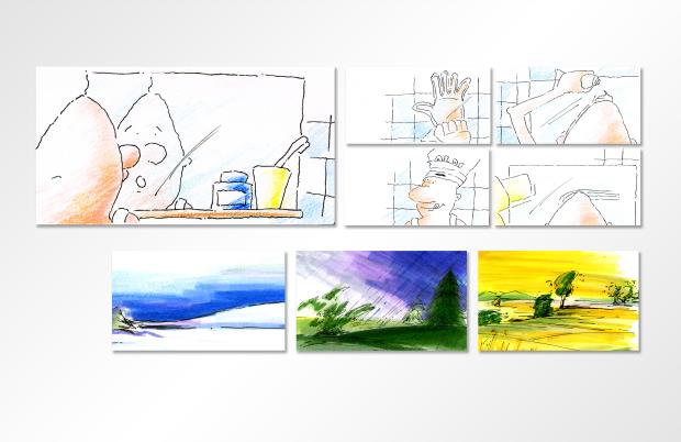 Auszug aus einem Storyboard für Männershampoo